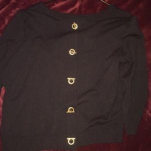 Black sweater. Gold bar buttons. Size XL. NWOT